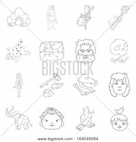 Stone age set icons in outline design. Big collection of stone age vector symbol stock illustration