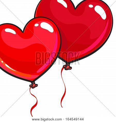 Two bright and colorful heart shaped balloons, cartoon vector illustration isolated on white background. Pair of red colored heart balloons, symbol of love, greeting card template