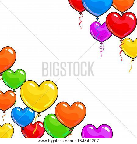 Greeting card template with bright and colorful heart shaped balloons, cartoon vector illustration isolated on white background. Multicolored heart balloons forming a frame, balloon-filled corners