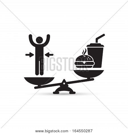 Man and fast food on scales vector loss weight concept illustration.
