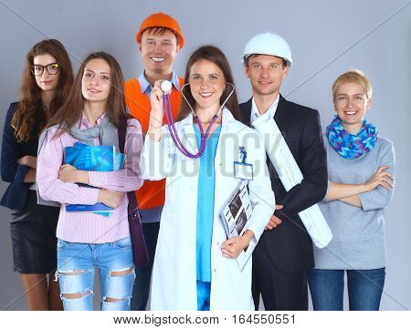 Portrait of smiling people with various occupations .