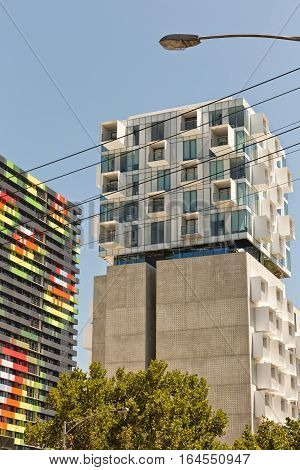Melbourne Australia - February 2015: Upper House apartments in Swanston Street Carlton designed by Jackson Clements Burrows Architects with