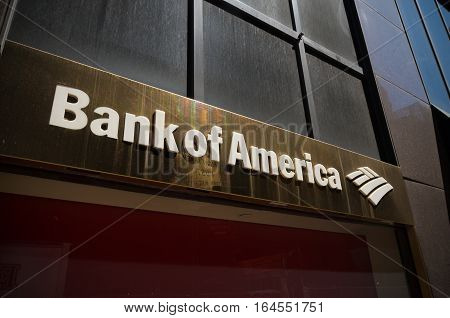 NEW YORK - APRIL 30 2016: Bank of America logo in manhattan. Bank of America is an American multinational banking and financial services corporation headquartered in Charlotte North Carolina.