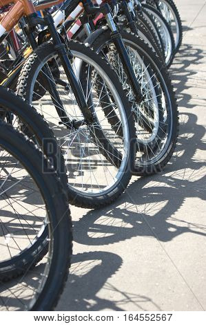 Many bike front wheels with spokes outdoor closeup