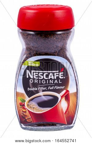 LONDON UK - JANUARY 4TH 2017: A studio shot of a jar of Nescafe Original Coffee over a plain white background on 4th January 2017. The Nescafe brand is owned by the Nestle company.