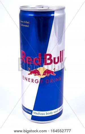 LONDON UK - JANUARY 4TH 2017: A studio shot of Red Bull Energy Drink over a plain white background on 4th January 2017.