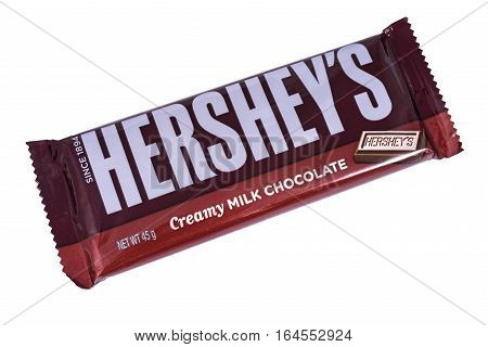 LONDON UK - JANUARY 4TH 2017: A studio shot of a Hersheys Creamy Milk Chocolate Bar isolated over a plain white background on 4th January 2017. Hersheys is one of the largest chocolate manufacturers in the USA.