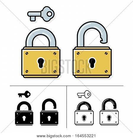 Lock and key padlock symbol - vector icon set