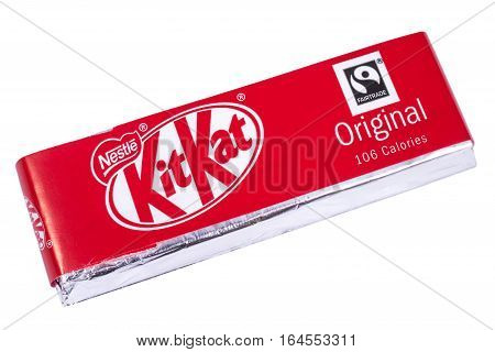 LONDON UK - JANUARY 4TH 2017: An unopened Kit Kat chocolate bar manufactured by Nestle pictured over a plain white background on 4th January 2017.