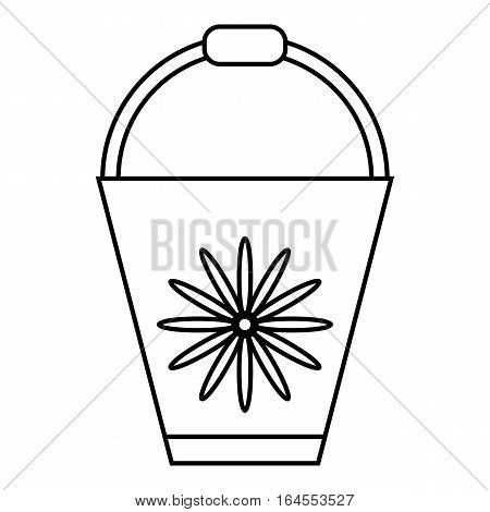 Bucket icon. Outline illustration of bucket vector icon for web