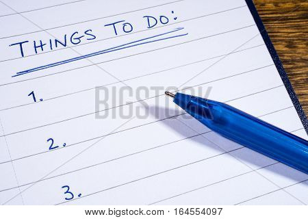 A blank checklist for Things To Do.