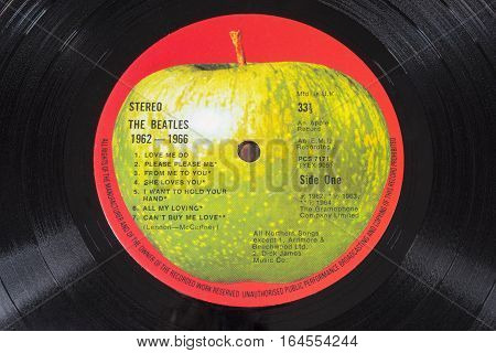 LONDON UK - JANUARY 4TH 2017: A vintage vinyl record of the compilation album 1962-1966 by English rock band The Beatles - relesed in 1973 it reached number 3 in the UK charts pictured on 4th January 2017.