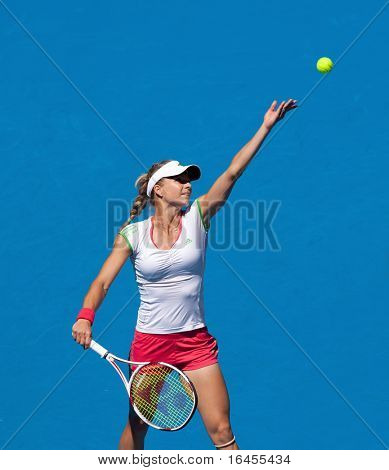MELBOURNE - JANUARY 28: Maria Kirilenko of Russia in the women's doubles final at the Australian Open on January 28, 2011 in Melbourne, Australia