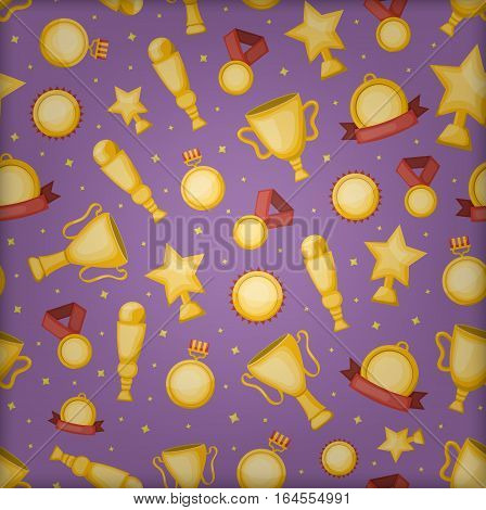 Vector cartoon seamless pattern with golden cups, medals and awards for gift wrapping paper, covering and branding on the purple background. Concept of rewarding and winning.