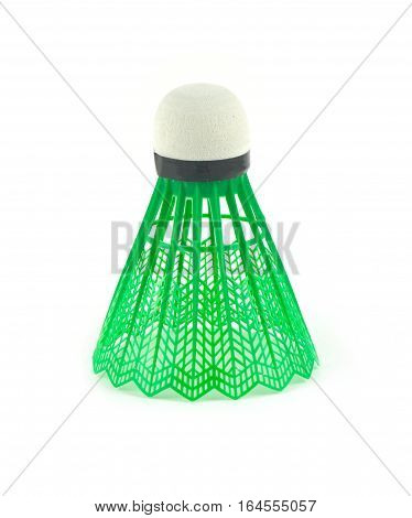 Green badminton shuttlecocks with white top isolated on white background top view