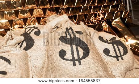 Theatrical Scenery, Money Bags With Us Dollar, Euro And Gold Bullion