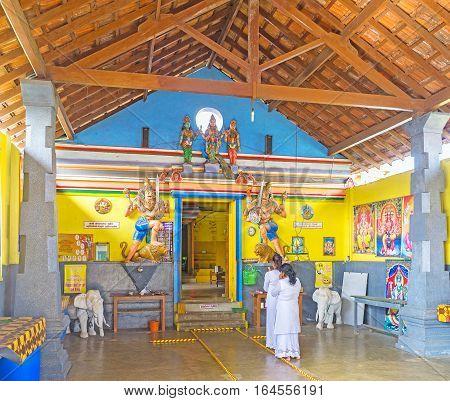 ANURADHAPURA SRI LANKA - NOVEMBER 26 2016: The Sri Kadhiresan Kovil Hindu Temple located in sacred city next to the Buddhist Temples on November 26 in Anuradhapura.