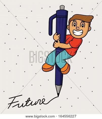 Illustration of a funny little boy using a big pen writing future word cartoon illustration