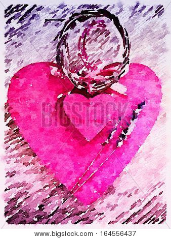 Digital watercolor painting of two vintage wooden pink hearts tied with willow and checked ribbon with lavender sprigs on wooden background. With a bleached effect vignette and space for text.
