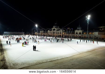 BUDAPEST HUNGARY - JANUARY 08 2017: City Park ice rink in Budapest Hungary. Europe largest outdoor ice rink