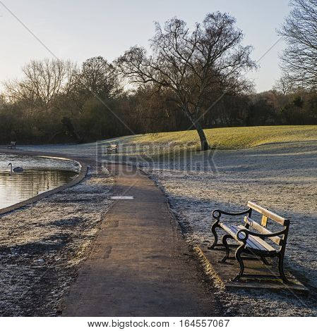 A Winter-time view of the beautiful Verulamium Park in St. Albans UK.