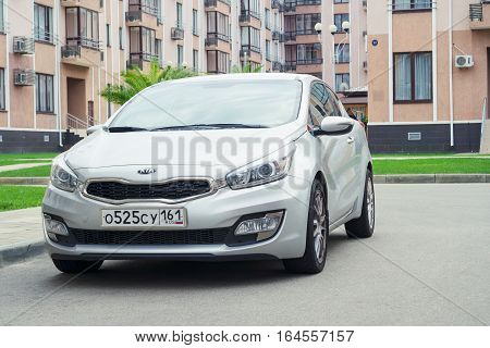 Sochi, Russia - October 11, 2016: New Kia Ceed parked near house on the street of Sochi.