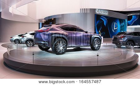 DETROIT MI/USA - JANUARY 9 2017: A Lexus UX Concept car at the North American International Auto Show (NAIAS).
