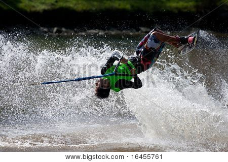 MELBOURNE, AUSTRALIA - MARCH 14: Julio Javier in the trick event at the Moomba Masters on March 14, 2011 in Melbourne, Australia