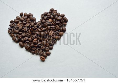 Coffee Bean Heart Against White