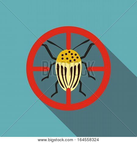 Colorado beetle icon. Flat illustration of colorado beetle vector icon for web