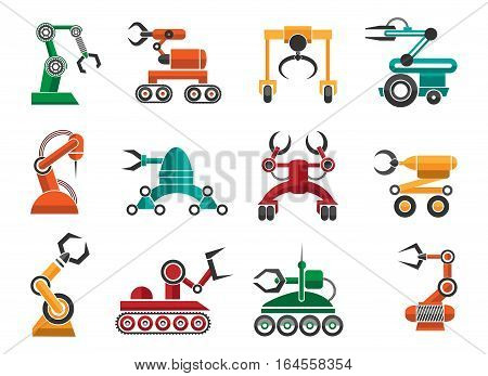 Manufacturing robotic auto hands machinery technology items isolated on white background. Industrial machine arms vector icons