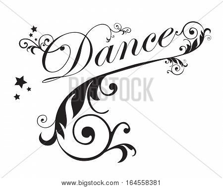 The word DANCE with swirls and Stars