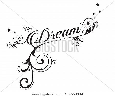 The word DREAM with swirls and stars