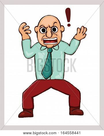 Cartoon illustration of an angry man with exclamation mark. Vector illustration.