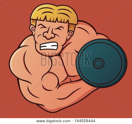 Bodybuilder Doing Heavy Dumbbell Curl Cartoon Illustration