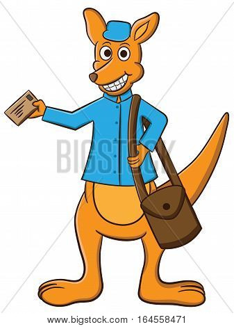 Cartoon illustration of a kangaroo working as a mail carrier with bag and letter