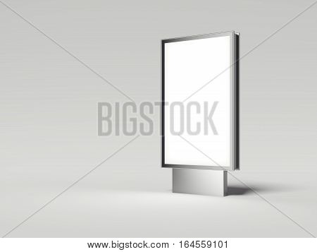 Silver billboard with white screen in bright studio. 3d rendering
