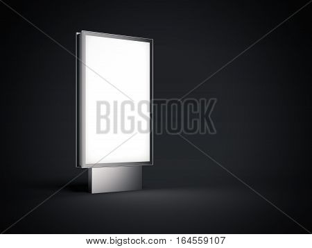 Metal billboard with white screen in dark studio. 3d rendering