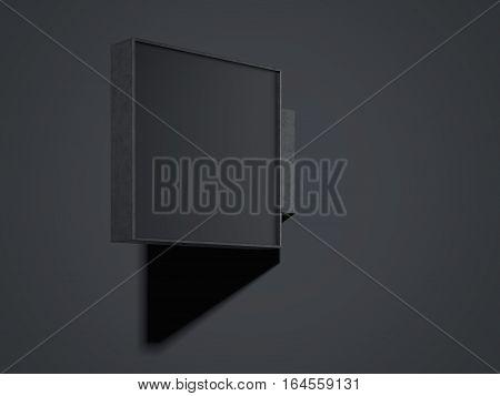 Empty black signboard in a dark studio. 3d rendering