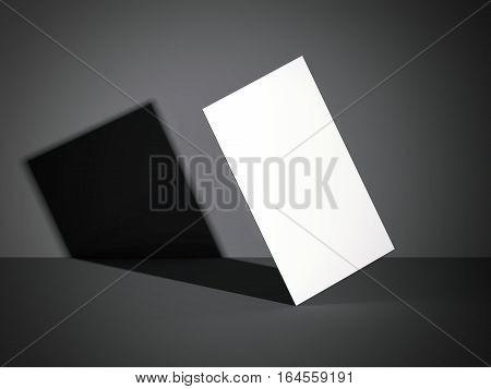 White business card in a dark modern studio. 3d rendering