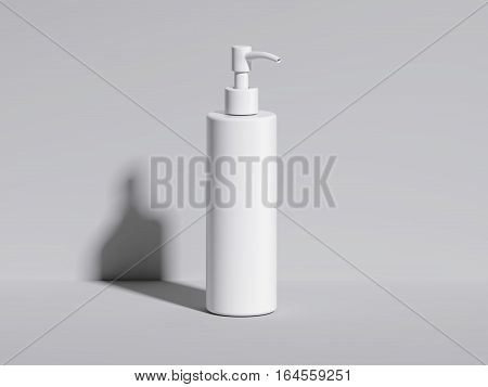 Cosmetic blank white bottle in bright studio. 3d rendering