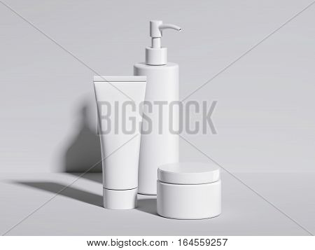 Set of beauty white hygiene containers in bright studio. 3d rendering