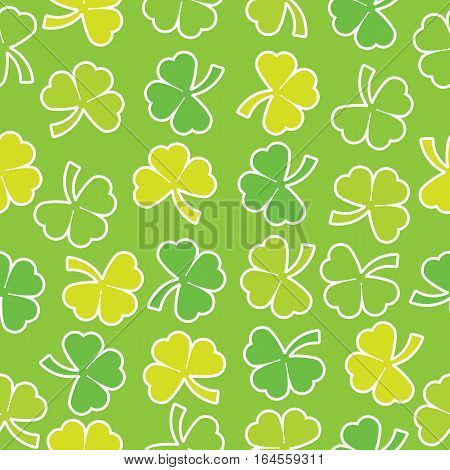 Seamless background of St. Patrick's Day illustration with colorful shamrock leaves on green background suitable for St. Patrick's Day wallpaper, scrap paper and postcard