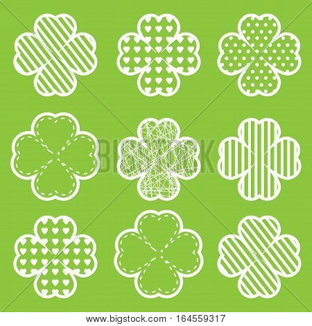 St. Patrick's Day illustration with shamrock leaves suitable for St. Patrick's Day sticker set, and clip art