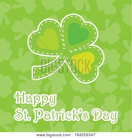 St. Patrick's Day illustration with colorful shamrock leaves on leaves background suitable for St. Patrick's Day greeting card, invitation card, and wallpaper