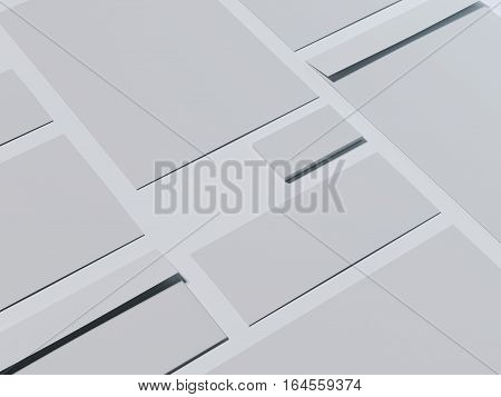 Gray branding mockup with business cards on a bright floor. 3d rendering