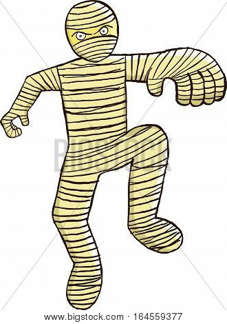 Vector cartoon of a walking mummy zombie