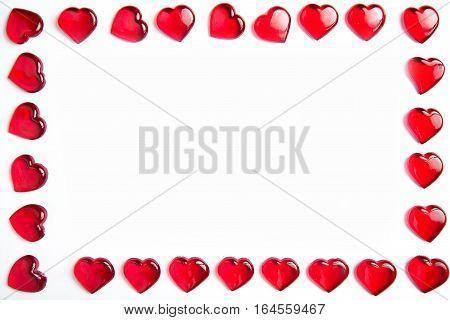 Valentine's day red hearts frame on white background