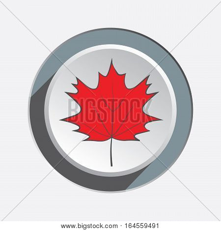 Maple leaf icon. Autumn symbol. Red silhouette on round three dimensional sign. White gray button with shadow. Vector isolated