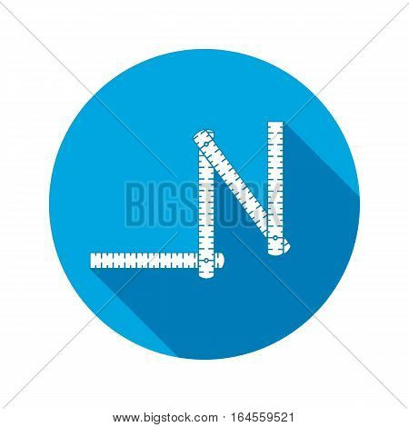 Measuring instrument, zigzag folding rule, device line icon. Repair, fix, control building tool symbol. Round circle sign with long shadow. Flat design. Vector